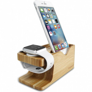 Док-станция Spigen Stand S370 для Apple Watch + iPhone бамбук (000ST20295)
