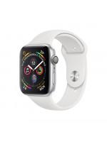 Apple Watch Series 4 GPS 44 мм, серебристый корпус, белый ремешок