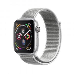 "Apple Watch Series 4 GPS 44 мм, серебристый корпус, браслет цвета ""белая ракушка"""